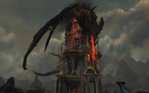 Deathwing impaled on the Wyrmrest Temple in End Time