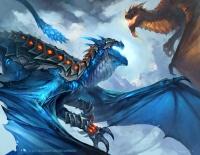An Azure Skyrazor battles against a black drake