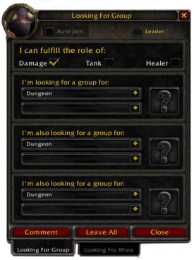 The LFG panel as of patch 3.1 as seen by a Tauren druid.