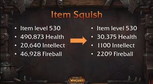 At item level 530, a player will drop from 490,873 health to 30,375; intellect drops from 20,640 to 1,100; Fireball damage drops from 46,928 to 2,209