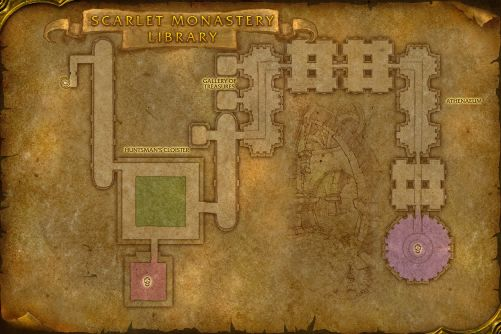 Scarlet Monastery Library map