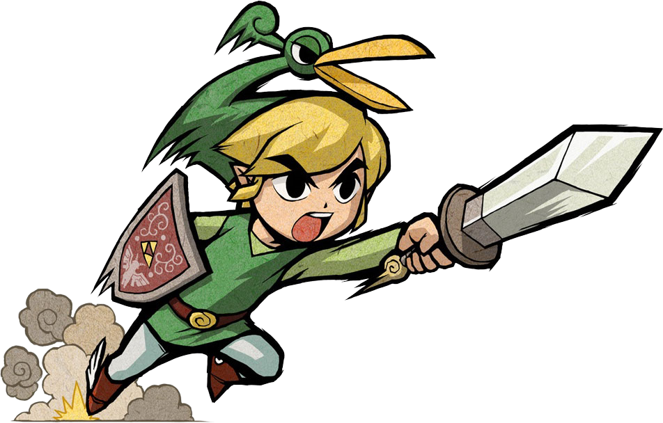 Link and Ezlo from The Legend of Zelda: The Minish Cap dashing forward