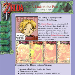 Screenshot of the History of Hyrule homepage