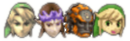File:SSBB Link Zelda Ganondorf Toon Link Sticker Use Icon.png