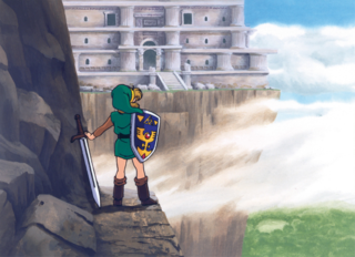 ALttP Link Looking at the Tower of Hera Artwork.png