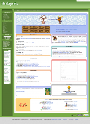 Animal Crossing Wiki's current layout