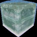 A metal block encased in ice