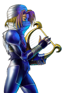 OoT Sheik with Harp Artwork.png