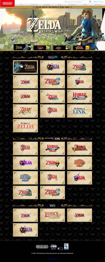 Screenshot of the Zelda.com homepage