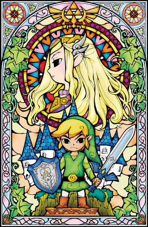 TWW Princess Zelda Link Stained Glass Artwork.png