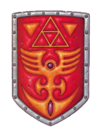 A winged figure on the Red Shield