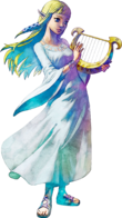 Zelda holding the Goddess's Harp in artwork of Skyward Sword