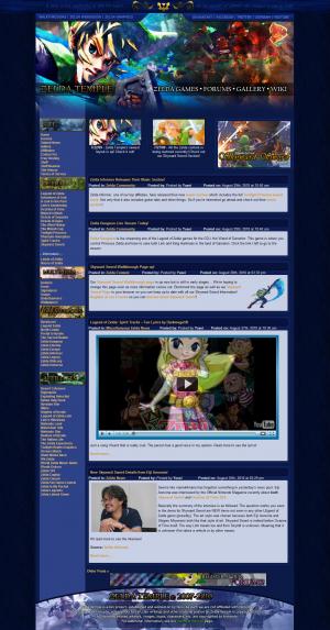 Screenshot of the Zelda Temple homepage